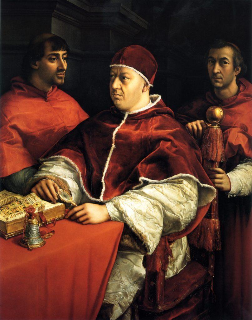 Raffaello, Leone X tra i cardinali Giulio de' Medici e Luigi de' Rossi