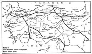 1453'den önceki Türkiye'de başlıca ticaret yolları